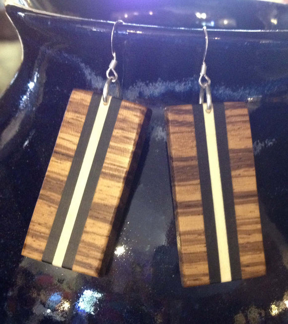 Zebrawood, Holly and Ebony Earrings