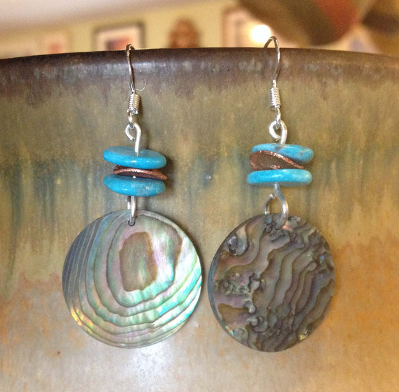 Turquoise, Copper Flake and Abalone Earrings