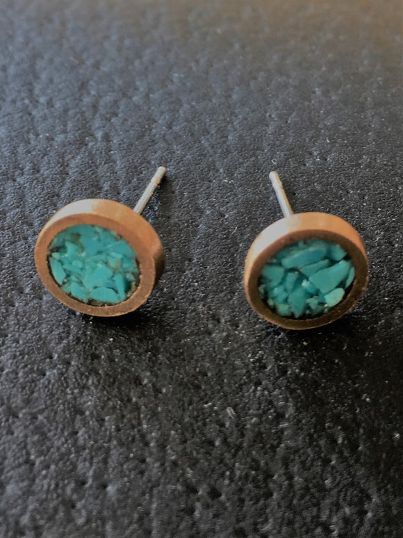 Turquoise and Bronze Studs