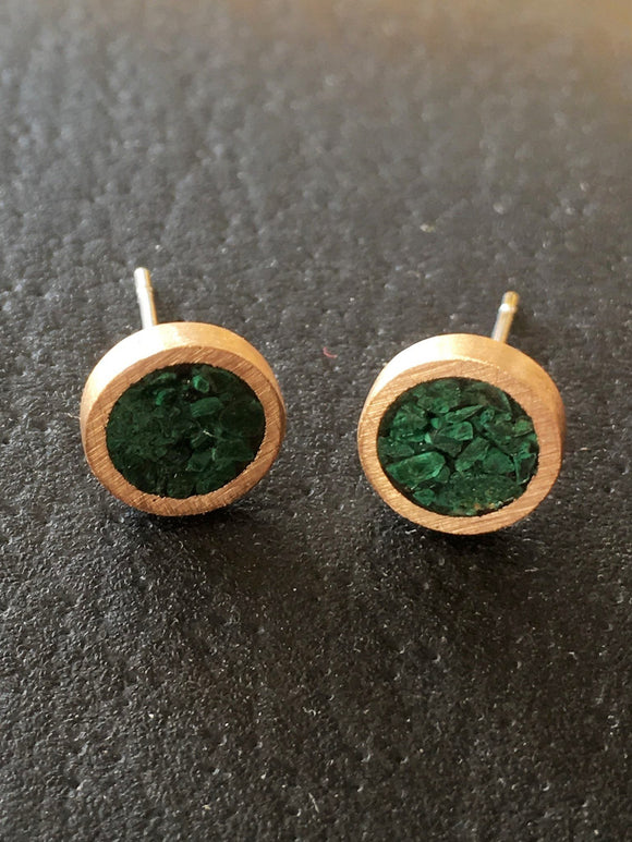 Malachite and Bronze Studs
