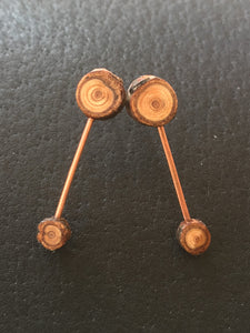 Double Cedar Stud Dangles