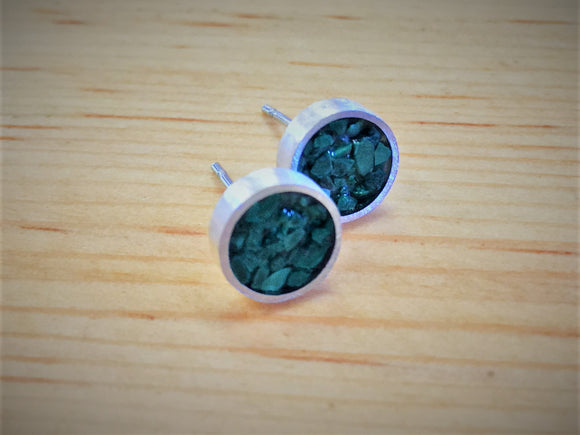 Malachite and Sterling Silver Studs