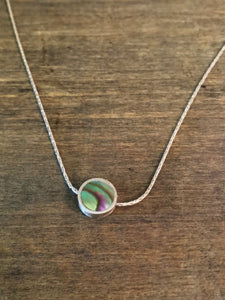 Sterling Silver and Abalone Flip Necklace