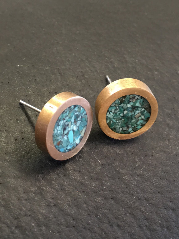 Turquoise and Bronze (Bigger) Studs