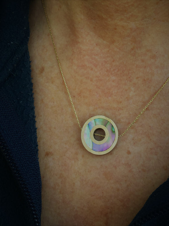 Double Bronze Ring and Abalone Flip Necklace - Gold Chain