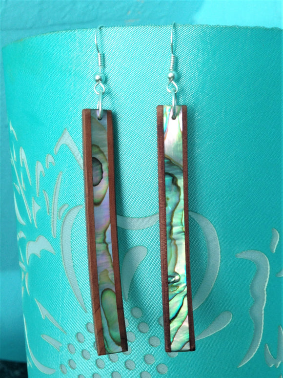Abalone/wood Slender Laminate Earrings (long)