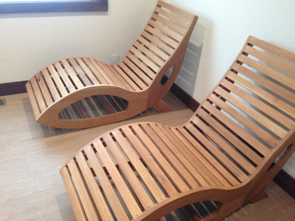 White oak sauna chairs