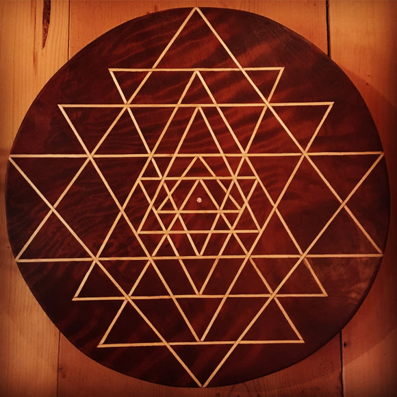 Sri Yantra in Redwood Burl (sold)
