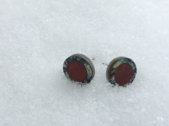 Abalone (outer) and Padauk Stud Earrings