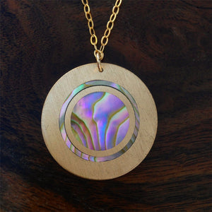 Bronze and Abalone Pendant Necklace