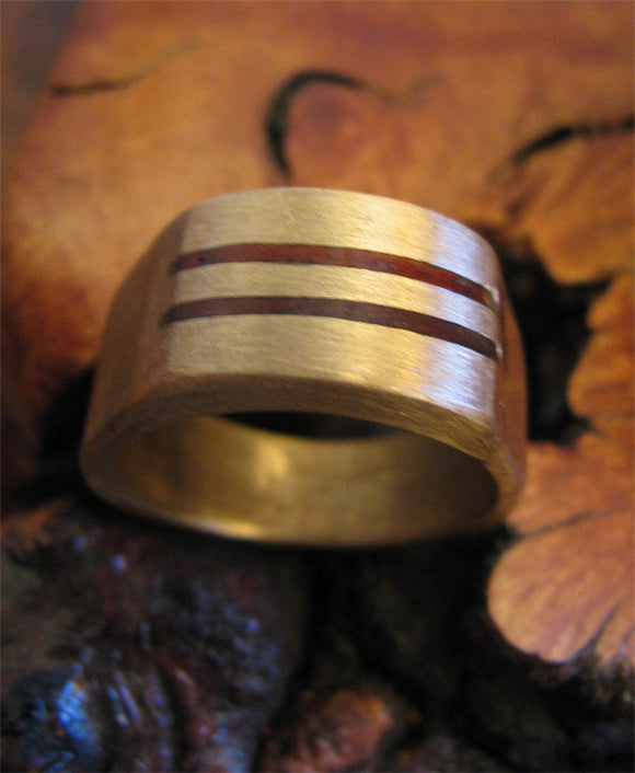 Bronze Ring with Padauk Inlay