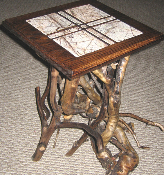 Marble Grid End Table