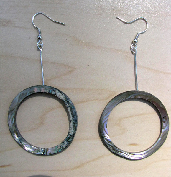 Long Abalone Hoop Earrings