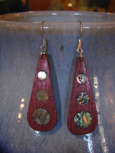 Purpleheart and Abalone Inlay Teardrops (round shape)