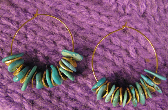 Turquoise and Gold Chip Hoops