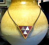 Abalone/Padauk/Purpleheart/Rosewood Triangle Necklace