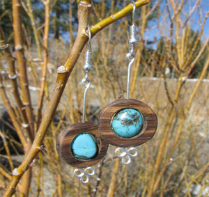 Zebrawood O's with Turquoise Earrings