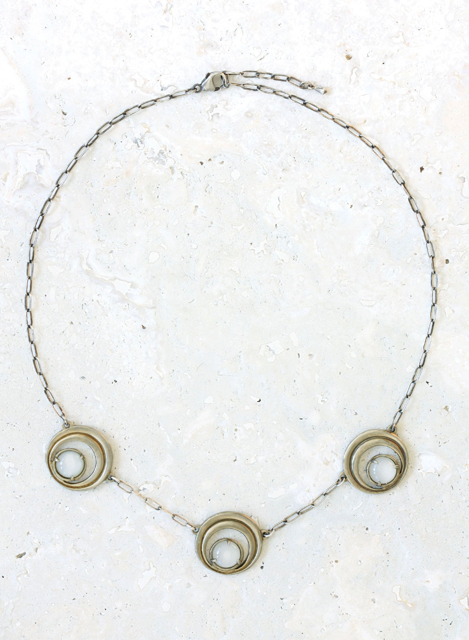 silver moonstone crescent necklace