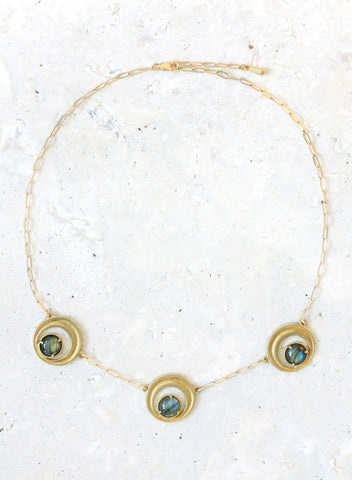 gold bronze labradorite crescent necklace