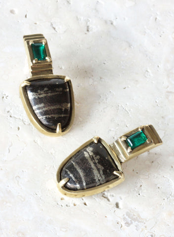 one of a kind pyrite emerald earrings