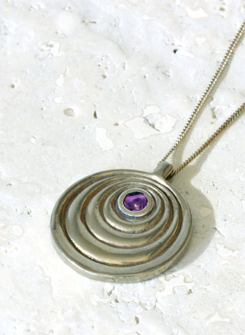 february amethyst birthstone necklace silver