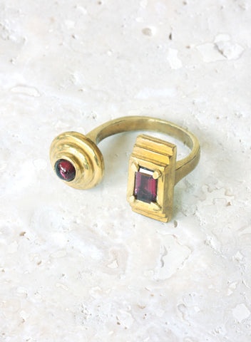 bronze adjustable ring garnet