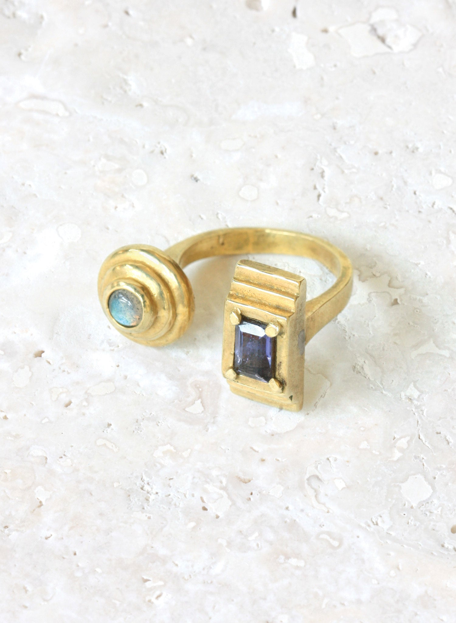 adjustable bronze ring labradorite