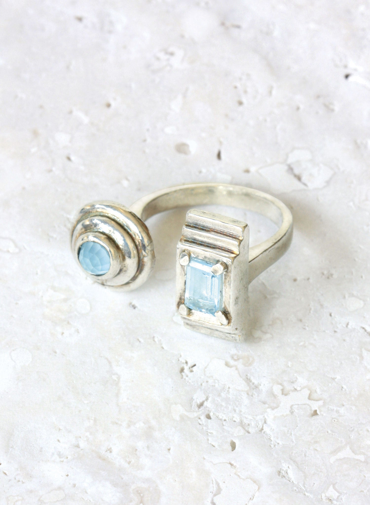 silver adjustable ring blue topaz