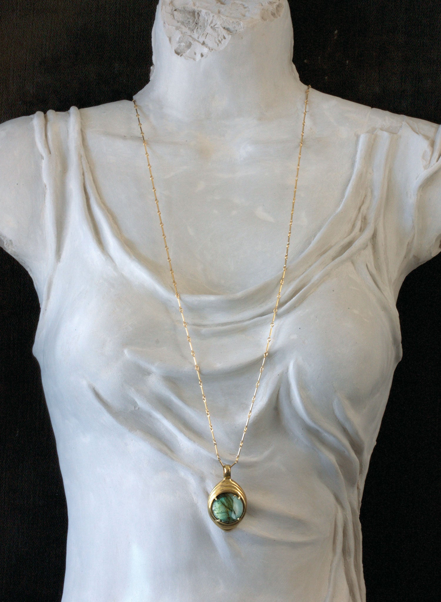 labradorite gold bronze amulet necklace