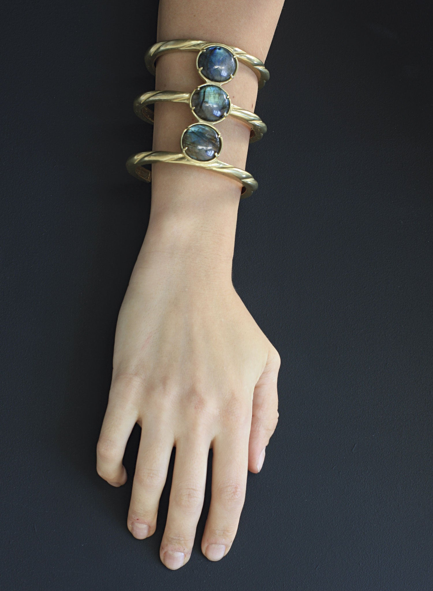 labradorite bronze statement cuff