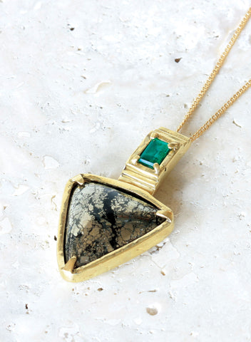 one of a kind pyrite emerald necklace