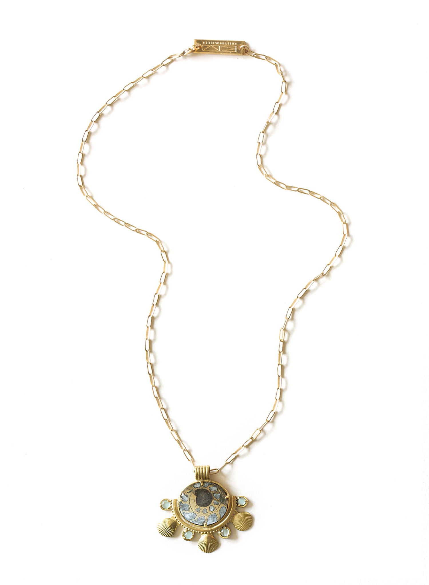 summer ammonite shell aquamarine necklace