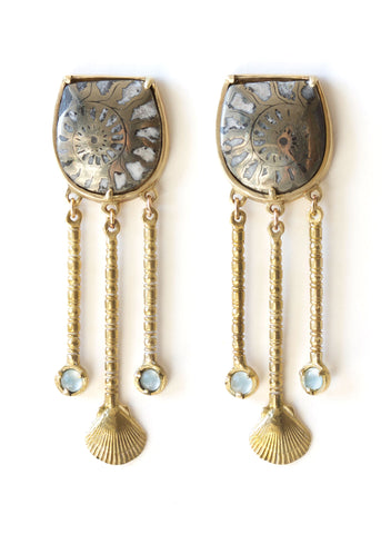 summer chandelier ammonite aquamarine shell earrings