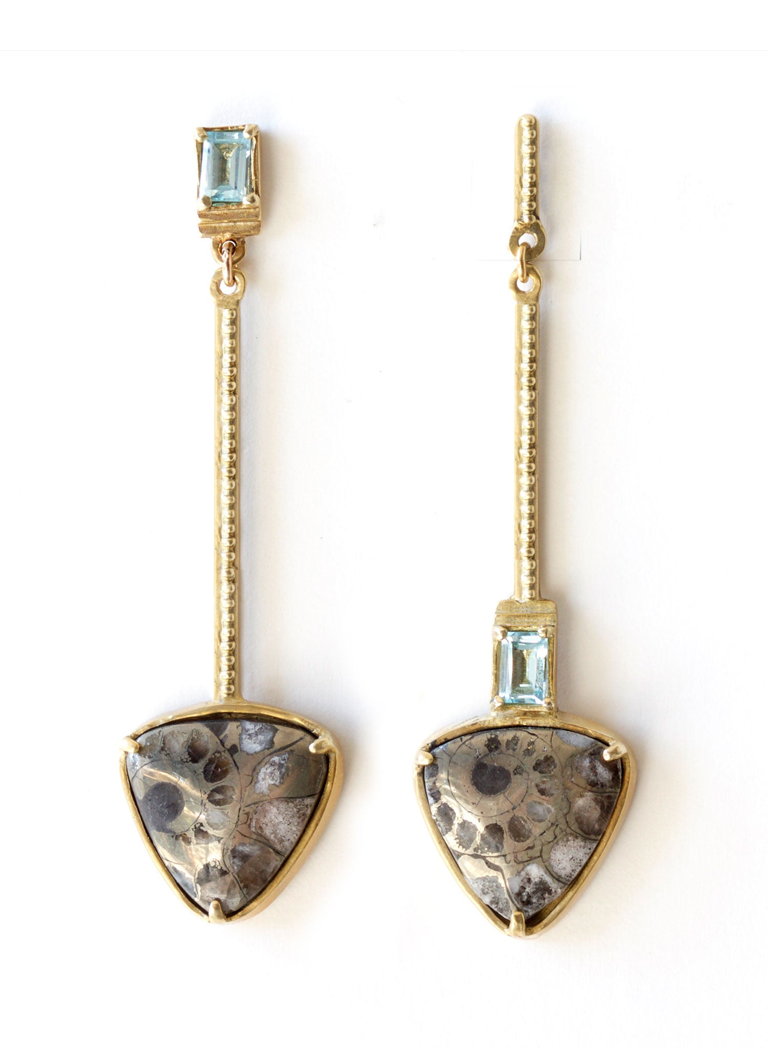 summer long ammonite aquamarine shell earrings