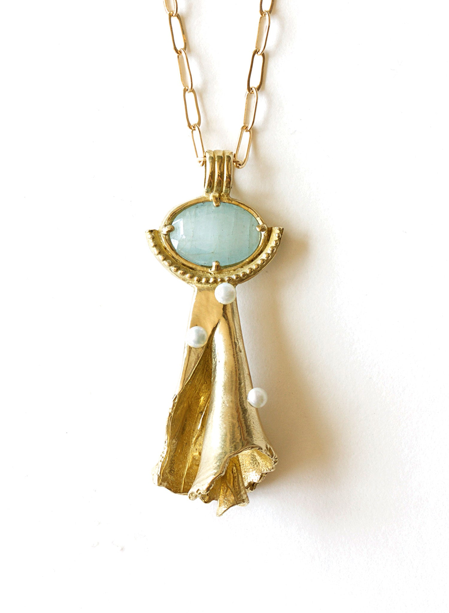 summer shell aquamarine pearl necklace