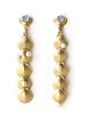 summer shell aquamarine pearl earrings