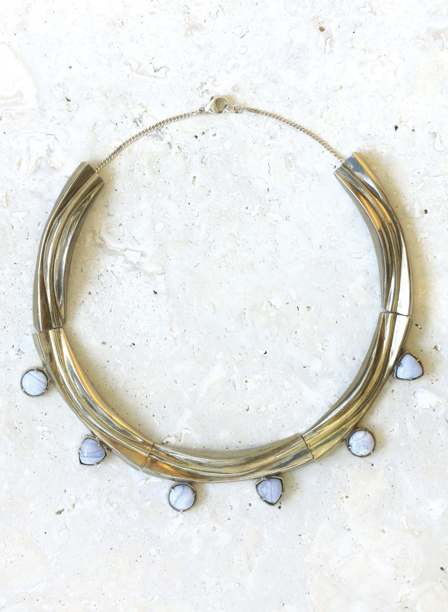 wave collar necklace blue agate silver