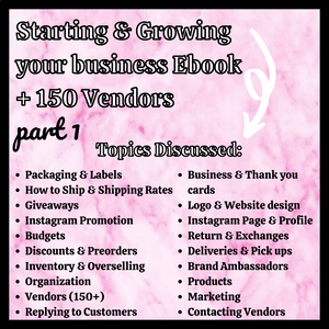 Starting & Growing your Business Ebook + 150 Vendors
