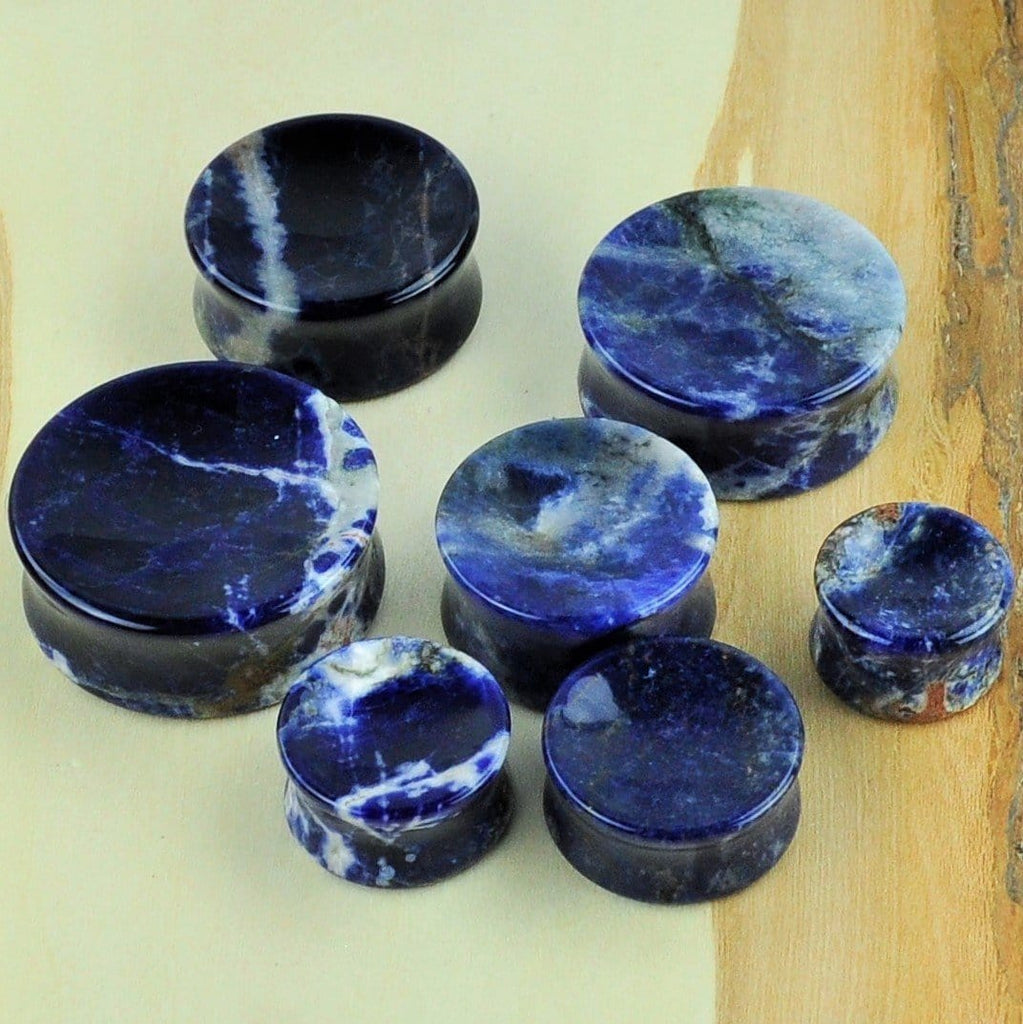 Sodalite and Moss Agate stone plugs- available in single-flare or double-flare!