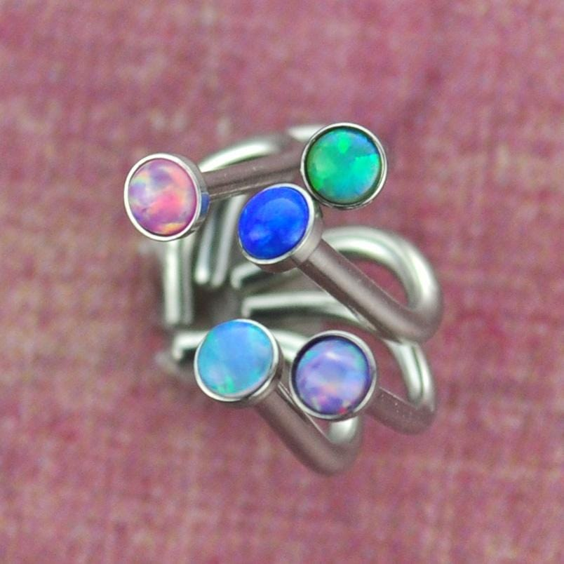 Steel Nose Screw with Opal Gem