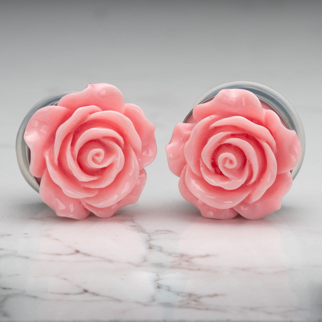 Pink Acrylic Rose Stainless Steel Single Flare Plugs