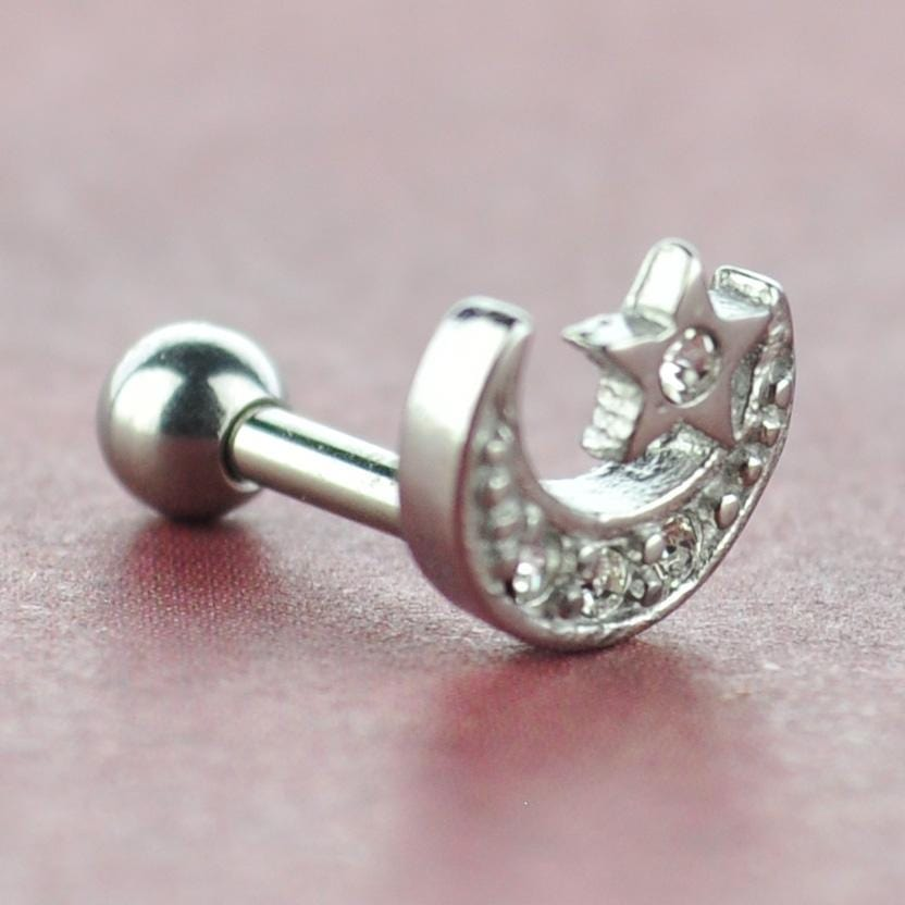 Crescent Moon and Star Cartilage Stud