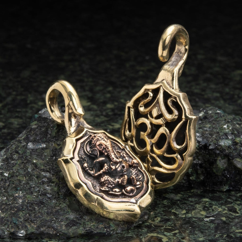 Brass Ear Weights with Copper Ganesh Inlay Hangers