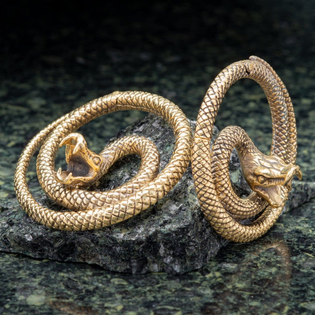Snake Brass Ear Weights Hangers with Hinged Clasp