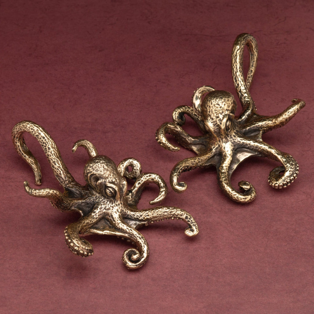 Octopus Brass Ear Weights Hangers