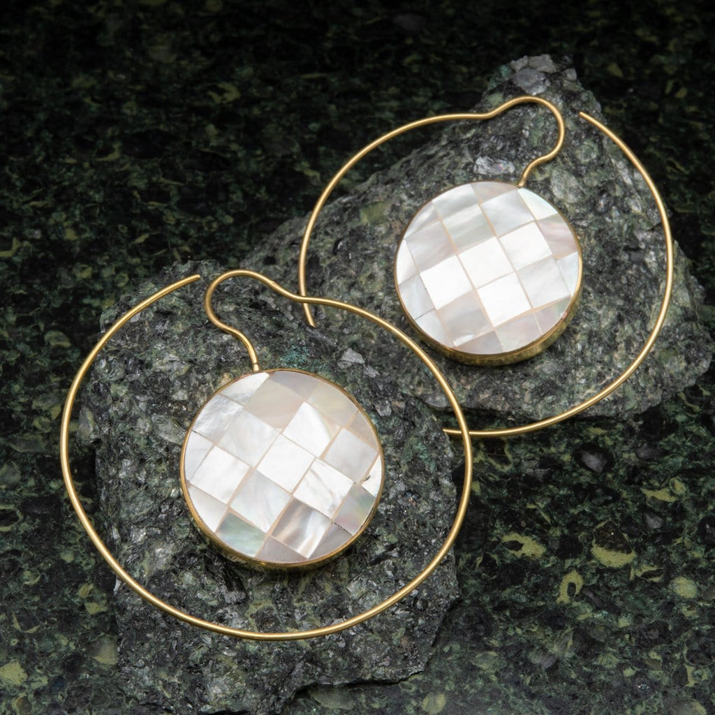 Brass Earrings Hangers with Circular Shell Inlay