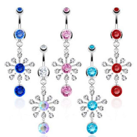 Snowflake CZ Belly Ring
