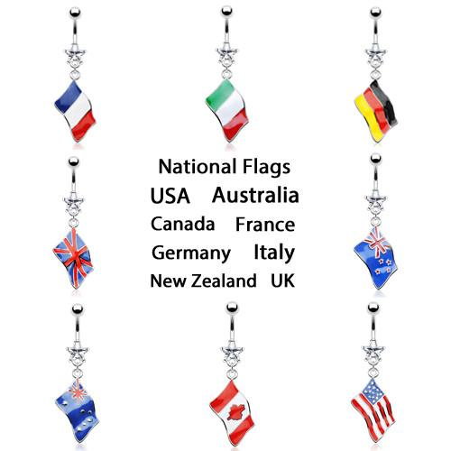 National Flag Belly Ring *Clearance*