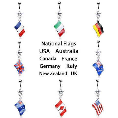 National Flag Belly Ring