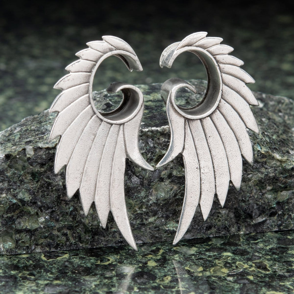 White Brass Open Plugs with Feather Wings